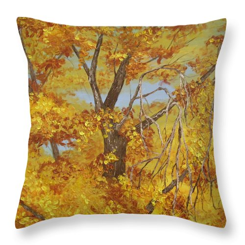 Original Painting Throw Pillow featuring the painting Autumn Treetops by Wanda Pepin