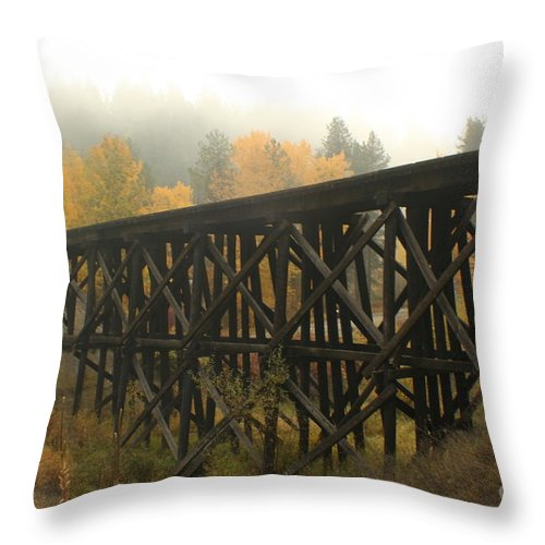 Trestle Throw Pillow featuring the photograph Autumn Trestle by Idaho Scenic Images Linda Lantzy