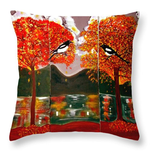 Landscape Throw Pillow featuring the painting Autumn Trilogy by Rusty Gladdish