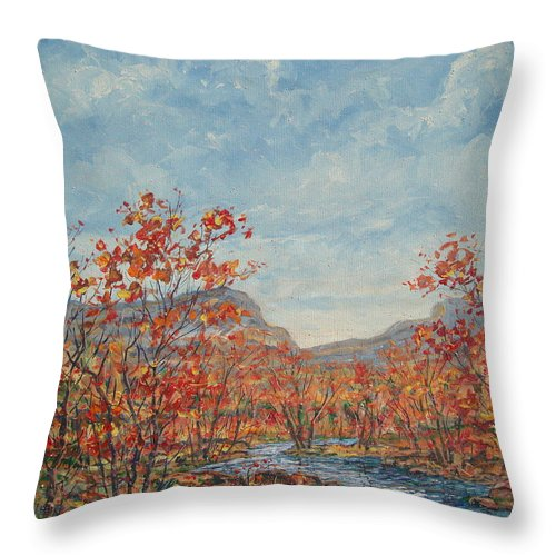 Paintings Throw Pillow featuring the painting Autumn View. by Leonard Holland