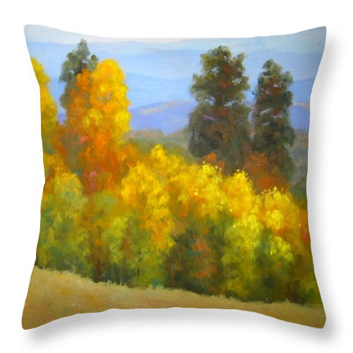 Autumn Throw Pillow featuring the painting Autumn Vista by Bunny Oliver