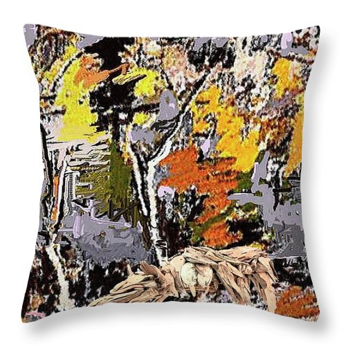 Landscape Throw Pillow featuring the mixed media Autumn Walk 1 by Pemaro