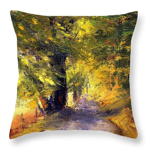 Autumn Throw Pillow featuring the painting Autumn Walk by Gail Kirtz