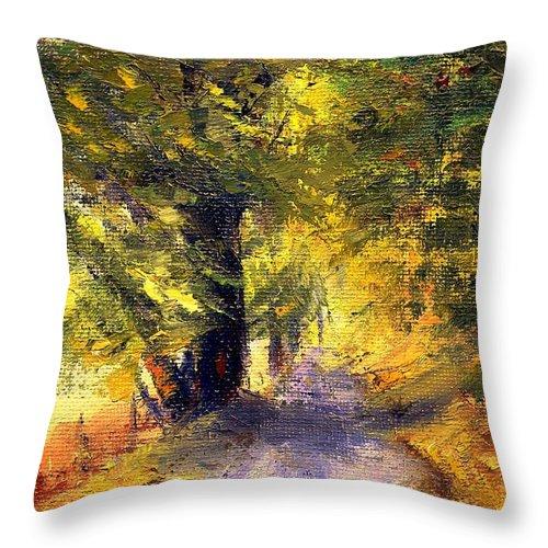 Autumn Throw Pillow featuring the painting Autumn Walk by Gail Kirtz