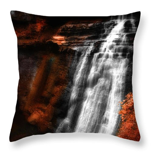 Autumn Throw Pillow featuring the photograph Autumn Waterfall 3 by Kenneth Krolikowski