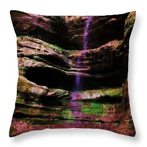 Waterfall Throw Pillow featuring the photograph Autumn Waterfall I by Anna Villarreal Garbis
