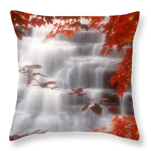 Autumn Throw Pillow featuring the photograph Autumn Waterfall I by Kenneth Krolikowski