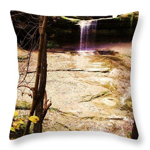 Waterfall Throw Pillow featuring the photograph Autumn Waterfall II by Anna Villarreal Garbis