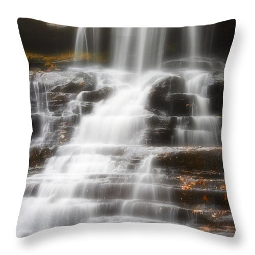 Autumn Throw Pillow featuring the photograph Autumn Waterfall II by Kenneth Krolikowski