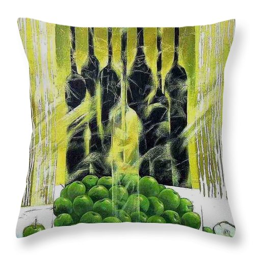 Apple Throw Pillow featuring the painting Autumn by Yelena Revis
