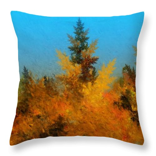 Abstract Digital Painting Throw Pillow featuring the digital art Autumnal Forest by David Lane