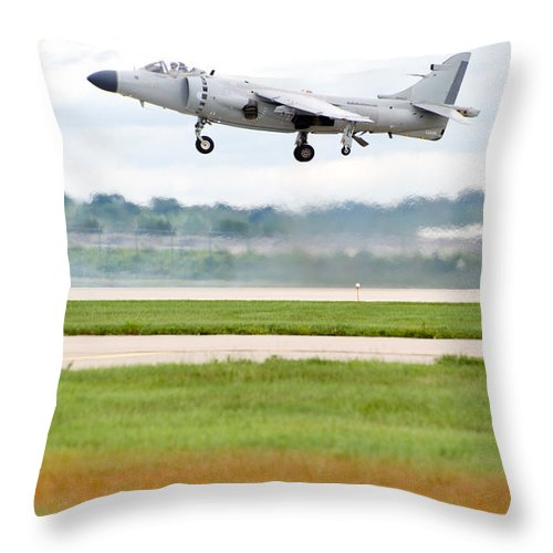 Airplane Throw Pillow featuring the photograph Av-8 Harrier by Sebastian Musial