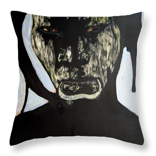 Throw Pillow featuring the mixed media Avenging Angel by Chester Elmore