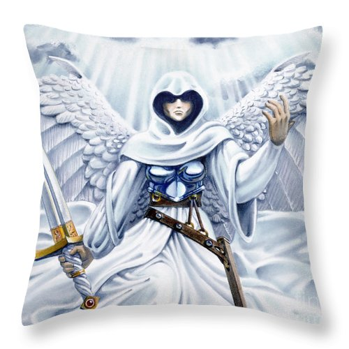 Angel Throw Pillow featuring the painting Avenging Angel by Melissa A Benson