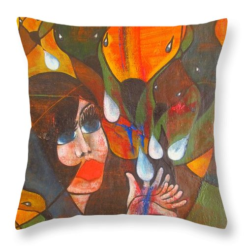 Colour Throw Pillow featuring the painting Aves by Wojtek Kowalski