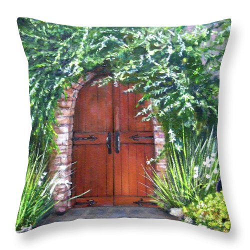 Door Curved Archway Throw Pillow featuring the painting Avignon by Olga Kaczmar