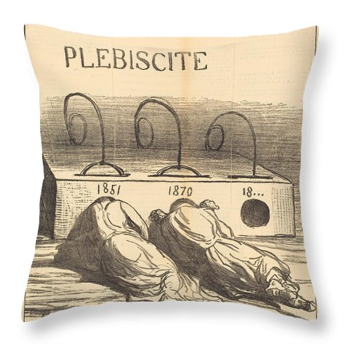 Throw Pillow featuring the drawing Avis Aux Amateurs by Honor? Daumier