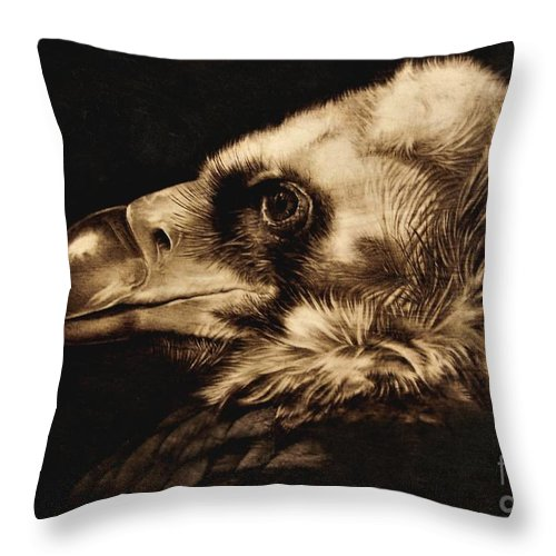Avvoltoio Throw Pillow featuring the pyrography Avvoltoio by Ilaria Andreucci