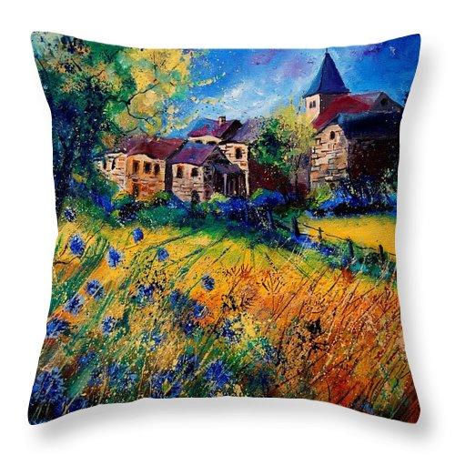 Tree Throw Pillow featuring the painting Awagne 67 by Pol Ledent