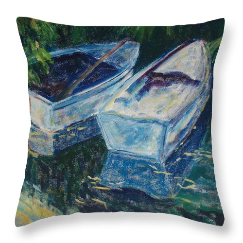Monets Gardens Throw Pillow featuring the painting Awaiting by Tara Moorman