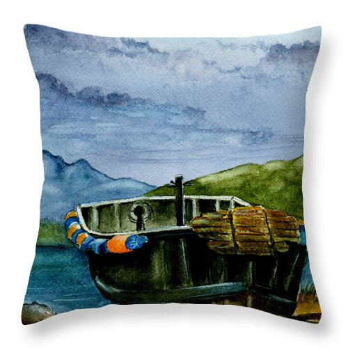 Watercolor Throw Pillow featuring the painting Awaiting The Season by Brenda Owen