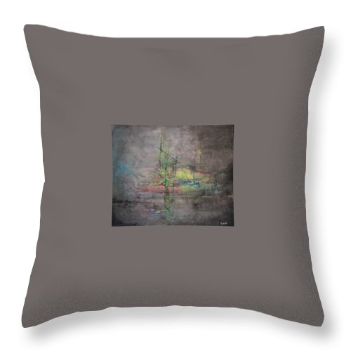 Abstract Throw Pillow featuring the painting AWAKENING ABSTRACT 1 Black Background Bright Detail by Lizzy Forrester