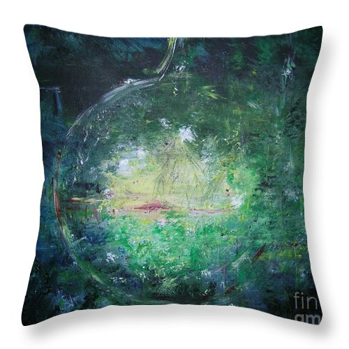 Abstract Throw Pillow featuring the painting Awakening Abstract II by Lizzy Forrester