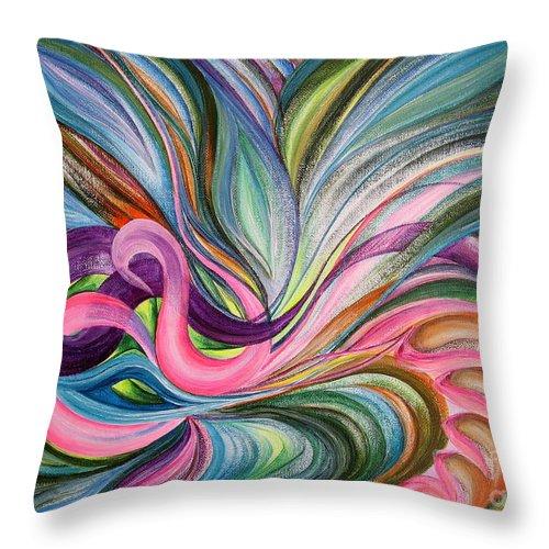 Abstract Throw Pillow featuring the painting Awakening 1 by Maya Bukhina
