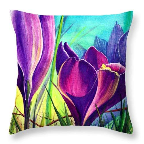 Awakening Throw Pillow featuring the painting Awakening by Nancy Cupp