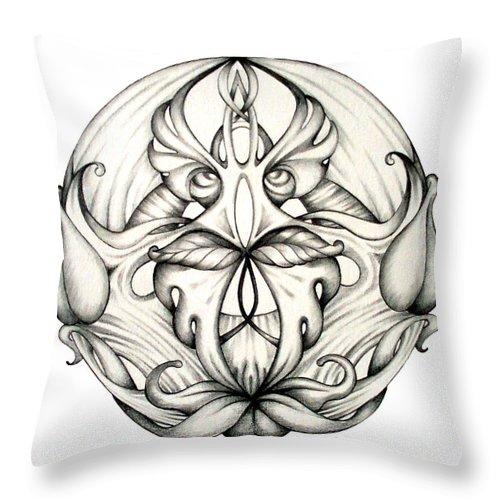 Mandala Throw Pillow featuring the drawing Awakening by Shadia Derbyshire