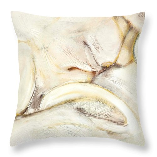 Female Throw Pillow featuring the drawing Award Winning Abstract Nude by Kerryn Madsen-Pietsch