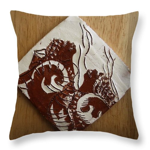 Jesus Throw Pillow featuring the ceramic art Awareness - Tile by Gloria Ssali