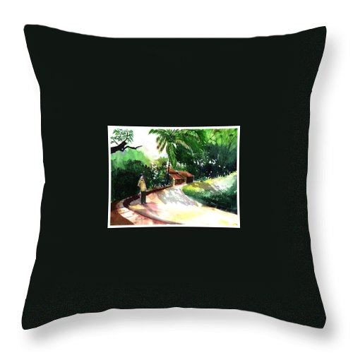 Water Color Watercolor Landscape Greenery Throw Pillow featuring the painting Awe by Anil Nene