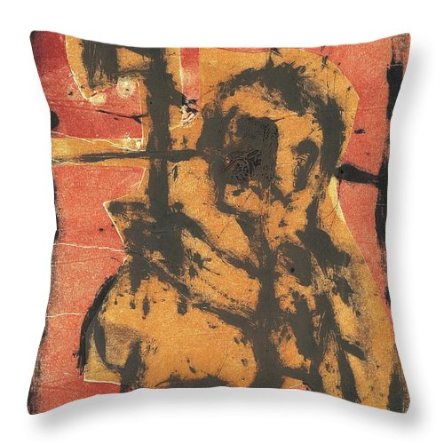 Axeman Throw Pillow featuring the relief Axeman 2 by Artist Dot
