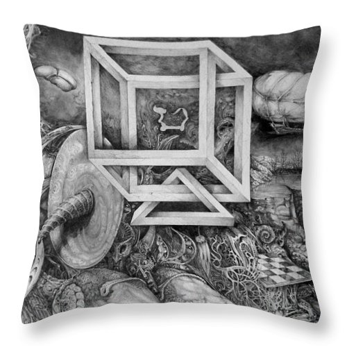 Drawing Throw Pillow featuring the drawing Axis Mundi by Otto Rapp