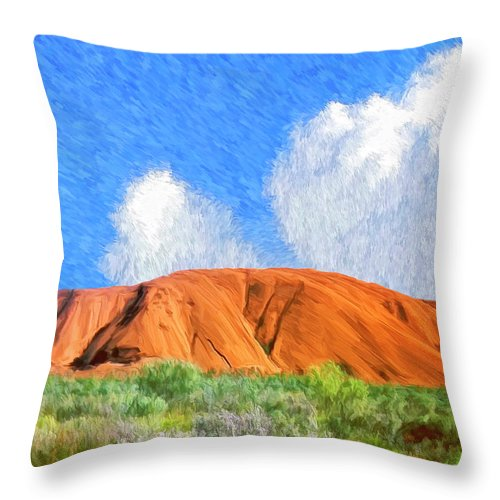 Ayers Rock Throw Pillow featuring the painting Ayers Rock by Dominic Piperata