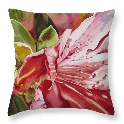 Watercolor Throw Pillow featuring the painting Azalea by Marlene Gremillion