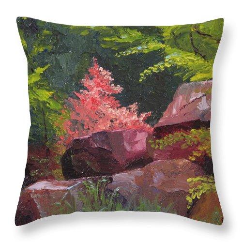 Azaleas Throw Pillow featuring the painting Azaleas - Sun And Shadow by Lea Novak