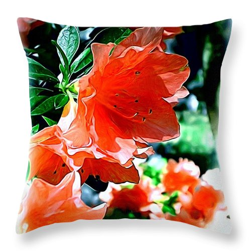 Fine Art Throw Pillow featuring the painting Azaleas In The Spring by Patricia Griffin Brett