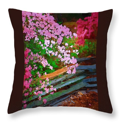 Flowers Throw Pillow featuring the photograph Azaleas Over The Fence by Donna Bentley