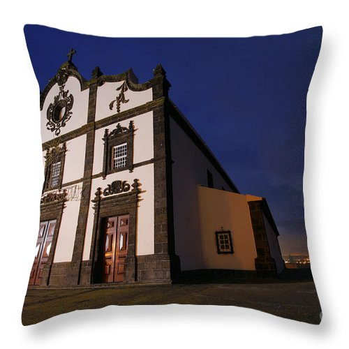 Catholic Throw Pillow featuring the photograph Azorean Church At Night by Gaspar Avila