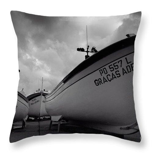Azoren Throw Pillow featuring the photograph Azorean Fishing Boats by Gaspar Avila