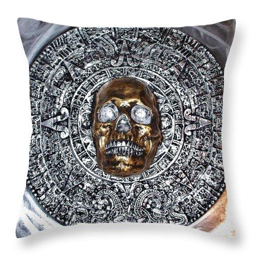 Hand Painted Plaster Sculpture Of Aztec/ Mayan Skull Warrior Calendar Relief Photo Throw Pillow featuring the photograph Aztec Mayan Skull Warrior Calendar Relief Photo by Americo Salazar