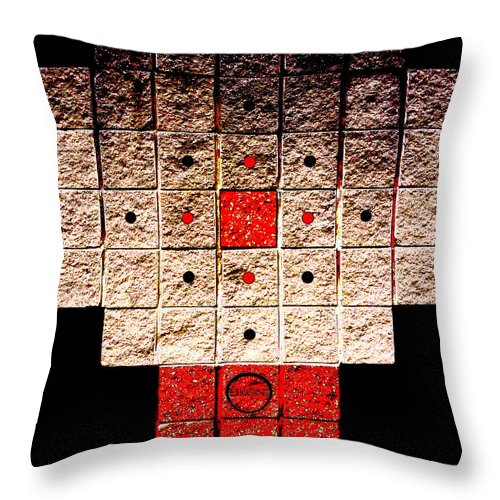 Square Throw Pillow featuring the digital art Aztec Nuclear Furnace by Eikoni Images
