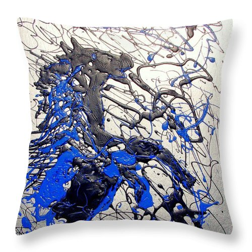 Stallion Horse Throw Pillow featuring the painting Azul Diablo by J R Seymour