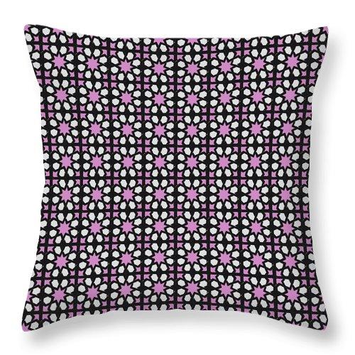 Seville Azulejo Throw Pillow featuring the mixed media Azulejos Magic Pattern - 03 by Andrea Mazzocchetti