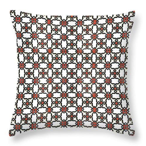 Seville Azulejo Throw Pillow featuring the mixed media Azulejos Magic Pattern - 06 by Andrea Mazzocchetti