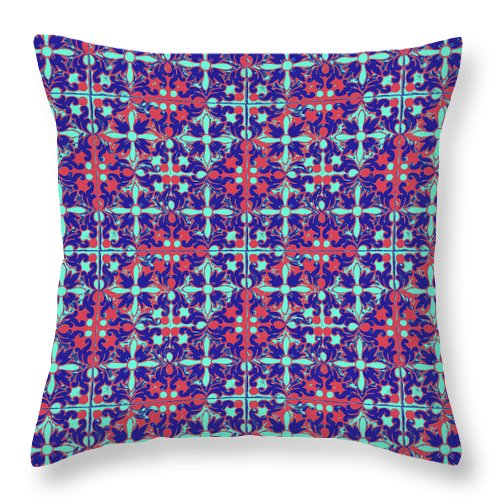 Seville Azulejo Throw Pillow featuring the mixed media Azulejos Magic Pattern - 07 by Andrea Mazzocchetti