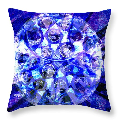 Abstract Throw Pillow featuring the digital art Azure Orb Of Midas by Seth Weaver