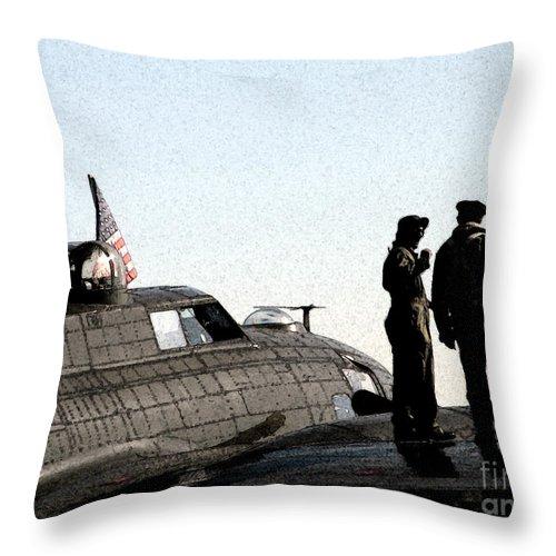 Bomber Throw Pillow featuring the digital art B-17 by Mark Grayden